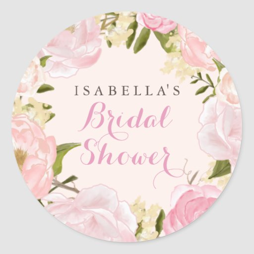 Peach Pink Spring Rose Bridal Shower Sticker