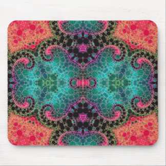 Peach Pink Turquoise Abstract Mouse Pad