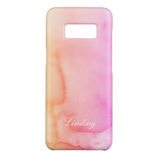 Peach Pink Watercolor Swirls Monogram Case-Mate Samsung Galaxy S8 Case