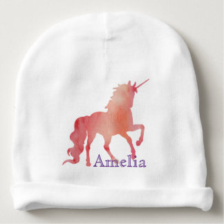 PEACH PINK WATERCOLOR UNICORN MAGIC BABY BEANIE