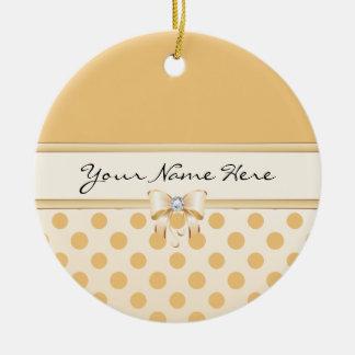 Peach Polka Dot & Faux Diamond Bow Ceramic Ornament