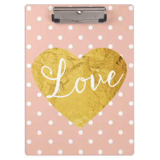Peach Polka Dots Fake Gold Love Heart Cute Girly Clipboards