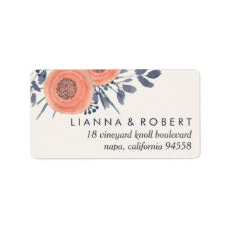 Peach Poppies Return Address Label