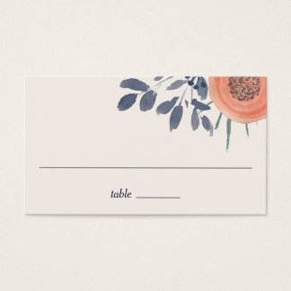 Peach Poppies Wedding Escort Place Cards