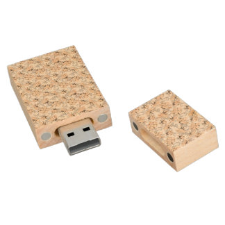 Peach Puff and Gray Vintage Floral Pattern Wood USB 2.0 Flash Drive