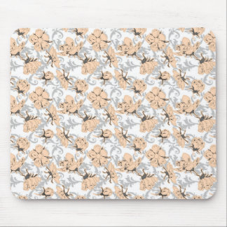 Peach Puff and Gray Vintage Floral Pattern Mousepads