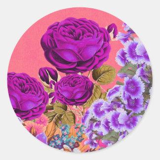 Peach Purple Abstract Rose Garden Round Sticker