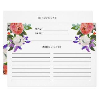 Peach Purple Mint Green Floral Blooms Recipe Card