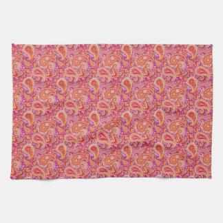 Peach & Purple Paisley Tea Towel