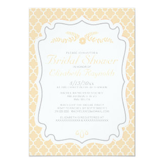 Peach Quatrefoil Bridal Shower Invitations