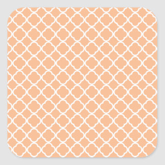 Peach Quatrefoil Pattern Square Sticker