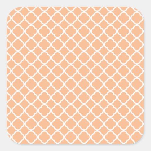 Peach Quatrefoil Pattern Square Stickers