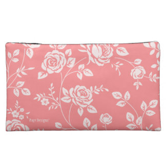Peach_Retro_Floral(c) Fabric_Sueded_Bag Makeup Bags