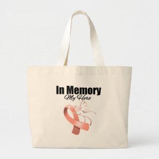 Peach Ribbon In Memory of My Hero Jumbo Tote Bag