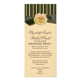 Peach Ribbon Rose Line Damask Wedding Menu Card