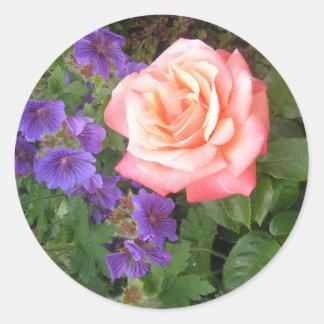 Peach Rose and Purple Geraniums Cards Classic Round Sticker