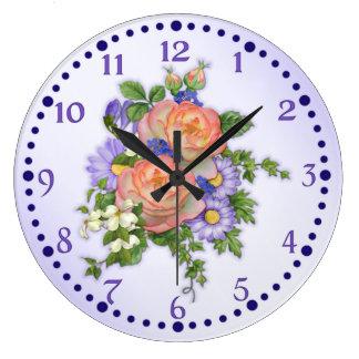 Peach Rose Bouquet Wall Clocks