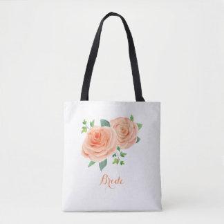 Peach Rose Bridal Tote Bag
