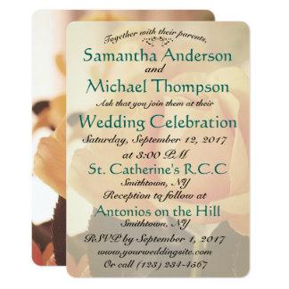 Peach Rose Classic Wedding Invitation Church Venue