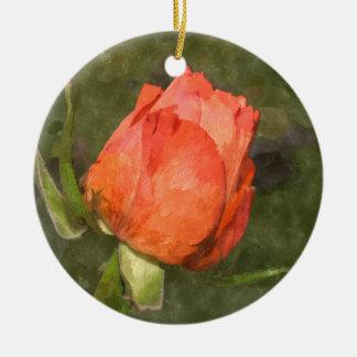 Peach  Rose Round Ceramic Decoration
