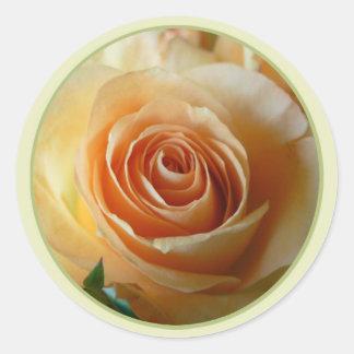 peach rose envelope seals round sticker
