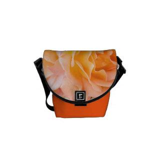 Peach Rose floral design messenger bag