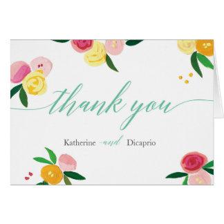 'Peach Rose Garden' Wedding Thank You Card