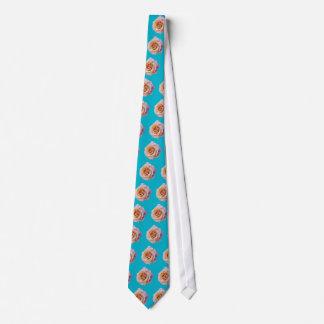 Peach Rose on Blue Green Tie