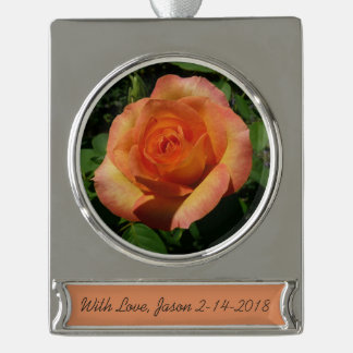 Peach Rose Orange Floral Silver Plated Banner Ornament
