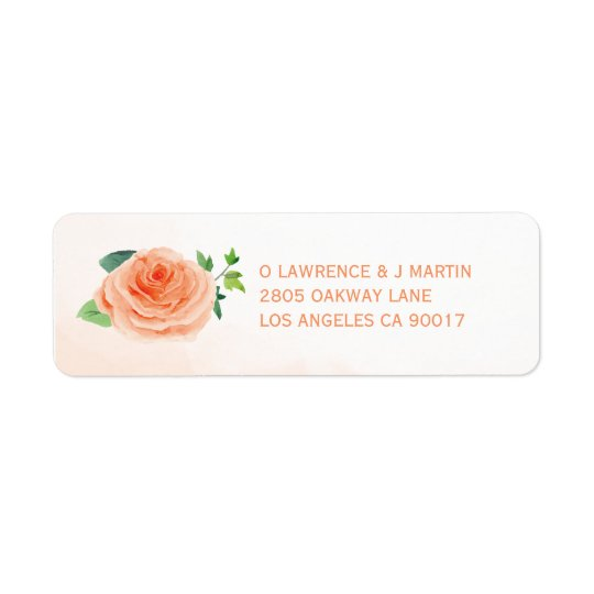 Peach Rose Return Address Labels