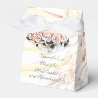 Peach rose romantic wedding dress favour box