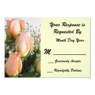 Peach Rose RSVP Card 9 Cm X 13 Cm Invitation Card