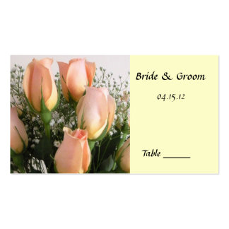 Peach Rose Table Place Card Business Card Template
