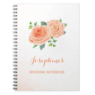 Peach Rose Wedding Planning Notebook
