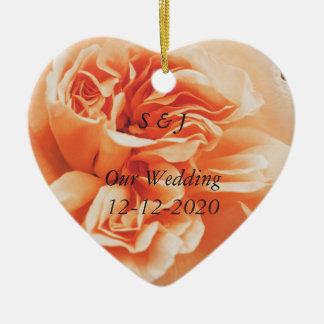 Peach rose wedding theme ornaments