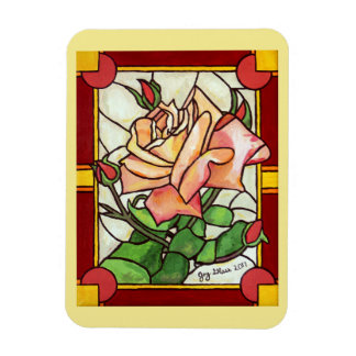 Peach Rose Window - Magnet