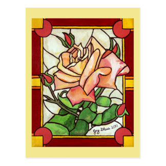 Peach Rose Window Postcard
