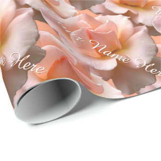 Peach Rose Wrapping Paper Personalized Rose Paper