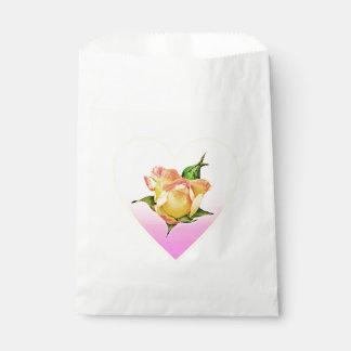 Peach rosebud in heart favour bag