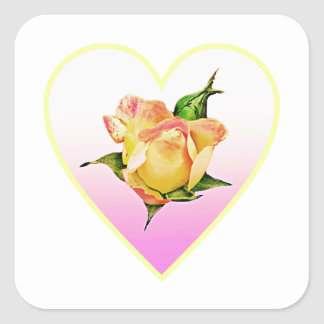Peach rosebud in heart square sticker