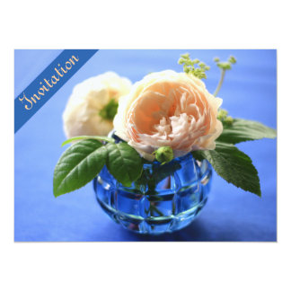 "Peach Roses Blue Vase Rehearsal Dinner Invitation 5.5"" X 7.5"" Invitation Card"