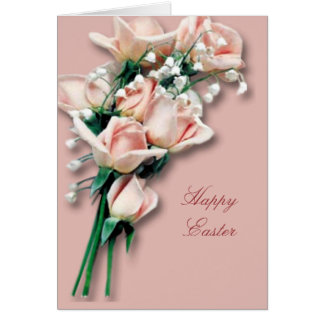 Peach Roses  Easter Card