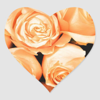 Peach Roses Heart Sticker