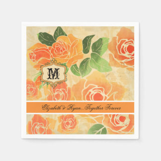 Peach Roses Personalized Wedding Paper  Napkins Paper Napkin