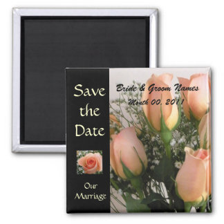 Peach Roses Save The Date Magnet