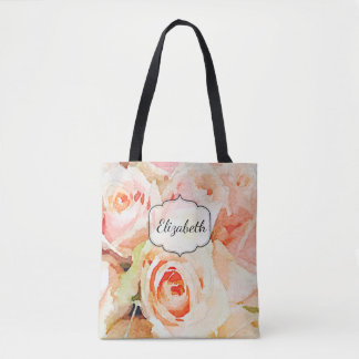 Peach Roses Watercolor Custom Tote Bag
