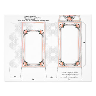 Peach Roses Wedding Pinch Box Party Favors Flyers
