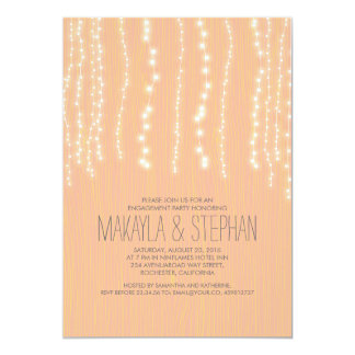 "Peach Rustic String of Lights Engagement Party 5"" X 7"" Invitation Card"