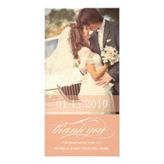 PEACH SCRIPT THANKS | WEDDING THANK YOU CARD PHOTO GREETING CARD