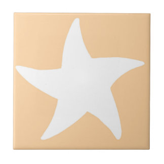Peach Sea Star Ceramic Tile